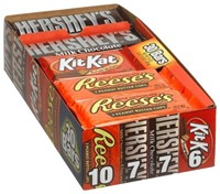 image for Hershey's 4-Flavor Variety Pack (Kit Kat, Reese's Peanut Butter Cups, Hershey's Milk Chocolate & Chocolate with Almonds), 30-Count Bars