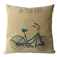 "image for Buankoxy Cotton Linen Square Throw Pillow Case Decorative Cushion Cover Pillowcase 18 ""X18 "" Bicycle City"