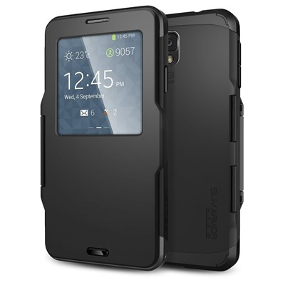 image for [Auto Sleep/Awake] Spigen Samsung Galaxy Note 3 Case Protective S View Cover [Slim Armor View] [Smooth Black] Automatic Sleep / Awake Dual Layer Advanced Shock Absoption Protective Case w/ S View Window for Galaxy Note 3 - Smooth Black (SGP10682)