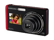 image for SAMSUNG DualView TL220 Black/Red 12.2 MP 27mm Wide Angle Digital Camera
