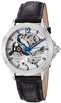 image for Stuhrling Original Men's 170.33152 Classic Delphi Helix Automatic Skeleton Silver Dial Watch