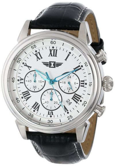 image for I By Invicta Men's 90242-002 Chronograph Silver Dial Black Leather Watch