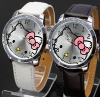 image for Hello Kitty Black & White Classic Watch with Free Pair of Red Heart Love Necklace.