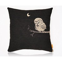 image for OJIA 18 X 18 Inch Cotton Linen Decorative Throw Pillow Cover Cushion Case, Owls