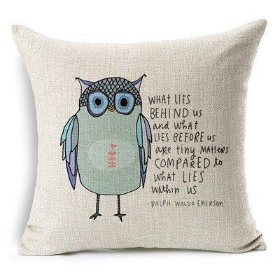 "image for Decorbox Cotton Linen Square Throw Pillow Case Decorative Cushion Cover Pillowcase Owl Sayings 45"" * 45"""
