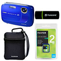 image for FujiFilm FinePix Z37 10 Megapixel Digital Camera, Blue with 2GB FujiFilm SD Card, Transcend SD Card Reader and Camera Case