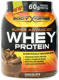 image for Body Fortress Whey Protein Powder, Chocolate, 31.2 Ounces (Pack of 2)