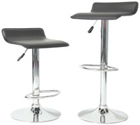 image for Roundhill Contemporary Chrome Air Lift Adjustable Swivel Stools with Black Seat, Set of 2