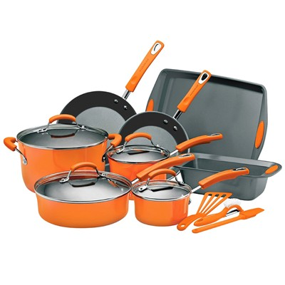 image for Rachael Ray Porcelain Enamel II Nonstick 15-Piece Cookware Set, Orange
