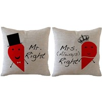 "image for ilkin 18 X 18"" Cotton linen Decorative Couple Red chili Throw Pillow Cover Cushion Case Couple Pillow Case, Mr. Right And Mrs.(always) Right Pillowcases, Set of 2"