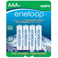 image for eneloop NEW 800 mAh Typical, 750 mAh Minimum, 1500 cycle, 4 pack AAA, Ni-MH Pre-Charged Rechargeable Batteries