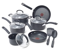 image for T-fal 2100085267 Ultimate Hard Anodized Durable Nonstick Expert Interior Thermo-Spot Heat Indicator Anti-Warp Base Dishwasher Safe PFOA Free Oven Safe Cookware Set, 12-Piece, Gray