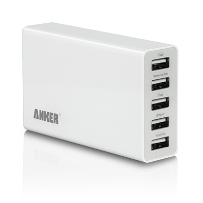 image for Anker® 25W/5A 5-Port USB Wall Charger / rapid Travel Charger portable charger for for iPhone 5s, 5c, 5, 4s, 4; iPad 5, Air, mini; ipod Touch, nano; Samsung Galaxy S4, S3, S2, Galaxy Note 3, 2; Kindle; LG G2; Nexus 5, 7, 10; Motorola Droid RAZR MAXX; Blackberry; Nook Color; Bluetooth Speakers & Headsets; HTC One X V S; external batteries and more--Great space saver, one product meets a family's charging needs