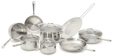 image for Emeril by All-Clad E914SC64 PRO-CLAD Tri-Ply Stainless Steel Dishwasher Safe 12-Piece Cookware Set, Sliver