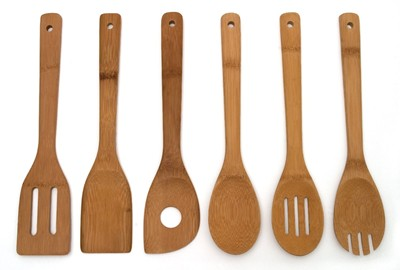 image for Lipper International 826 Set of 6 Bamboo Kitchen Tools, in Mesh Bag