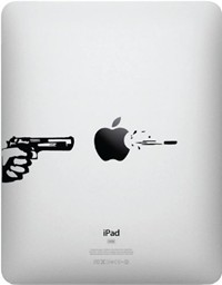 image for Apple, Gun, and Bullet for iPad - Vinyl Decal