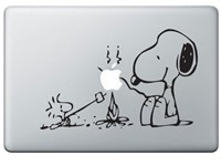 image for Apple Macbook Vinyl Decal Sticker - Snoopy and Woodstock Campfire