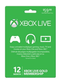 image for Microsoft Xbox LIVE 12 Month Gold Card