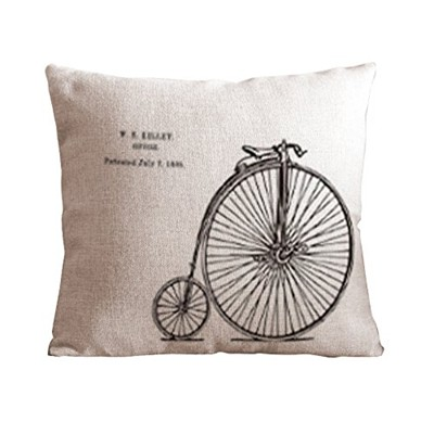 image for OneHouse Old Bicycle Cotton Linen Square Decorative Pillowcase