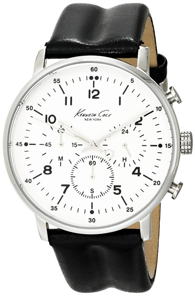 image for Kenneth Cole New York Men's KC1568 Iconic Chronograph Black Leather Strap Dress Watch