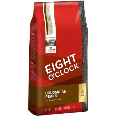 image for Eight O'Clock Colombian Peaks Ground Coffee, 11-Ounce Bags (Pack of 4)