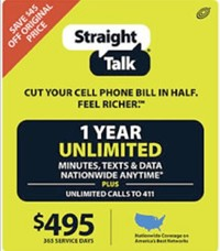 image for Straight Talk 1 Year Unlimited Refill Card