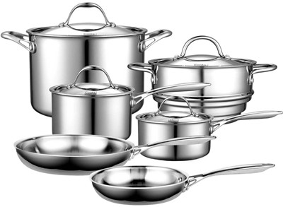 image for Cooks Standard Multi-Ply Clad Stainless-Steel 10-Piece Cookware Set