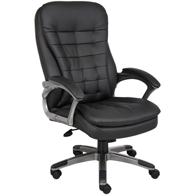 image for Boss High Back Executive Chair with Pillow top Pewter Finished Base and Arms