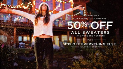 image for 50% off ALL AE and AEO Factory Store Sweaters Everything Else 40% off AE and AEO Factory Store Merchandise