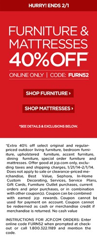 image for EXTRA 40% OFF furniture, VALID JANUARY 21–FEBRUARY 1, 2014, CODE: FURN52