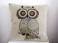 "image for Decorbox Cotton Linen Square Decorative Throw Pillow Case Cushion Cover Cartoon Green Cute Cartoon Owl 18 ""X18 """