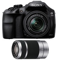 image for Sony Alpha A3000 Digital Camera with 18-55mm F3.5-5.6 Lens - Double Lens Bundle - with Sony 55-210mm f/4.5-6.3 OSS Lens, 49mm Filter Kit (UV, CP, ND2), 16GB SDHC Card, Camera Case, Tripod, and Lens Cleaning Kit